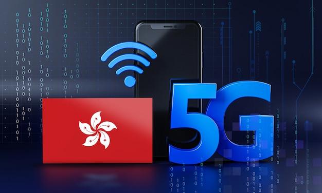 Hong kong listo para el concepto de conexión 5g. fondo de tecnología de teléfono inteligente de renderizado 3d