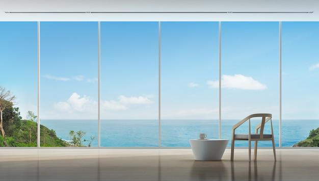 Hora del café en el interior de lujo vista al mar de la casa moderna.