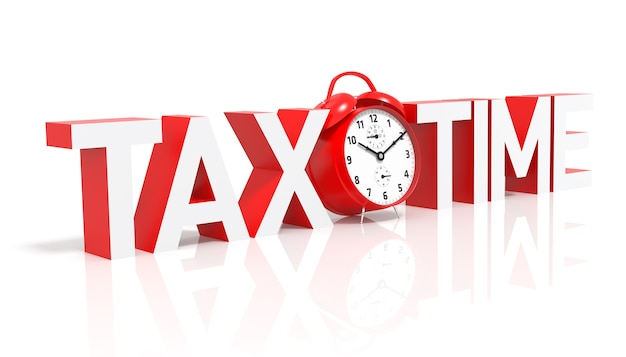 Hora de impuestos y despertador rojo. representación 3d
