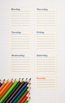 Horario escolar en blanco para la semana