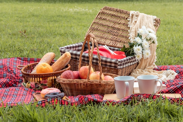 Horario de verano. primer plano de la cesta de picnic con comida y fruta en la naturaleza.