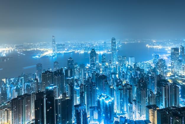 Horizonte de la ciudad de hong kong al amanecer.
