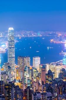 Horizonte de la ciudad de hong kong y el paisaje arquitectónico