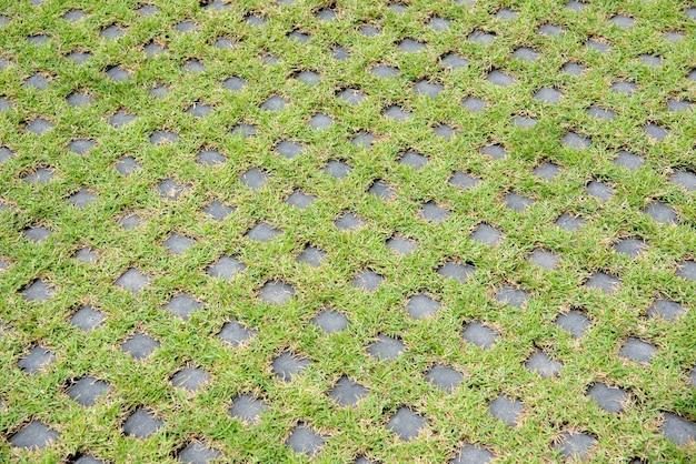 Hormigón geométrico de estacionamiento con pasto verde