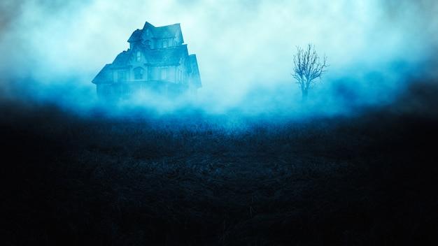 Horror espeluznante casa de halloween en espeluznante bosque de la noche