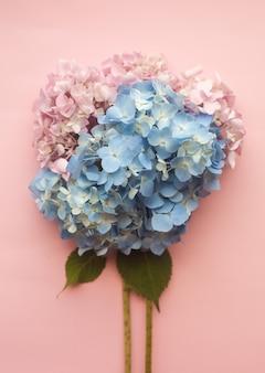 Hortensia rosa y composición de flores azules.