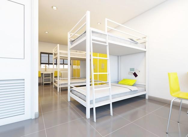 Hostal camas compartidas dispuestas en habitación.