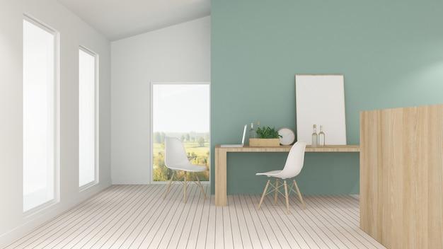 El hotel interior mínimo relaja la representación 3d del fondo y el fondo de la opinión de la naturaleza