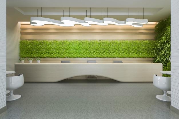 Hotel de lujo de renderizado 3d y recepción y salón de oficina.