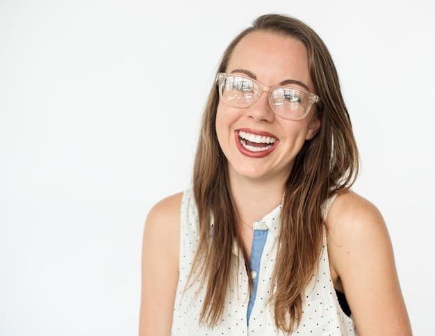 Hoyuelos dispara gafas sonrisa retrato positividad