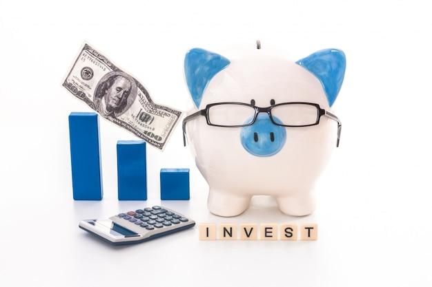 Hucha azul y blanca con gafas con mensaje de invertir