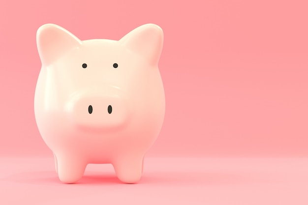 Hucha en color rosa, ahorrando dinero concepto con representación 3d