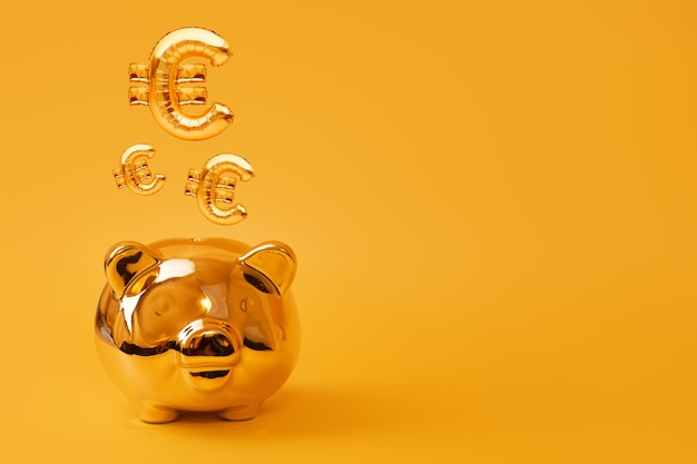 Hucha de oro sobre fondo amarillo con globos de oro con signo de euro. símbolo de moneda de oro hecho de globo inflable. concepto de inversión y banca ahorro de dinero, hucha, finanzas, inversiones