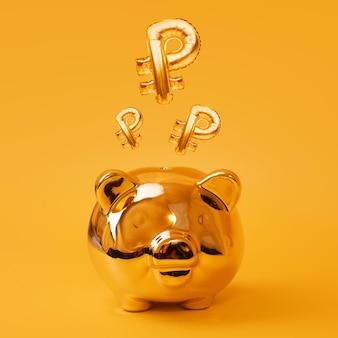 Hucha de oro sobre fondo amarillo con globos de signo de rublo dorado, símbolo de moneda rusa hecha de globos de aluminio