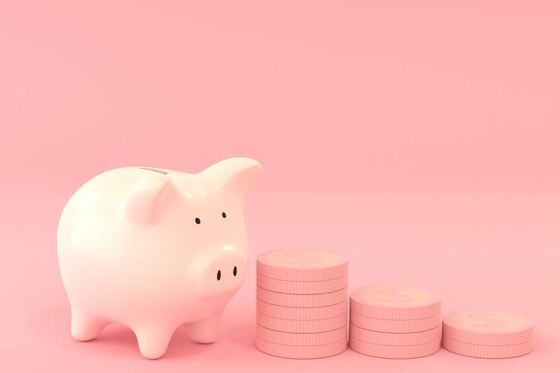 Hucha rosa con monedas de un dólar en color rosa, ahorrando dinero concepto con representación 3d