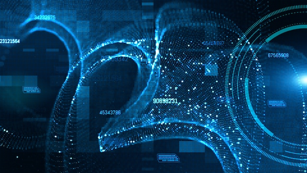 Hud de alta tecnología y datos con partículas digitales de color azul fluyen concepto de fondo futuro