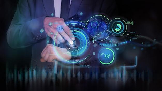 Hud holográfico financiero y elementos infográficos.