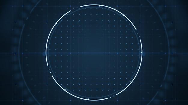 Hud de interfaz de usuario futuro tecnológico con círculos girando sobre fondo azul oscuro.