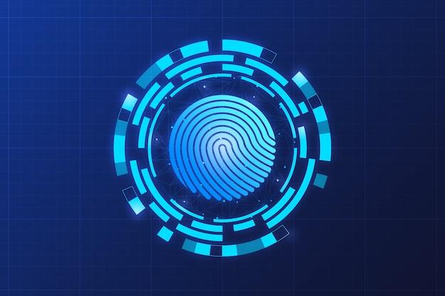 Huella digital para el concepto de red y seguridad.