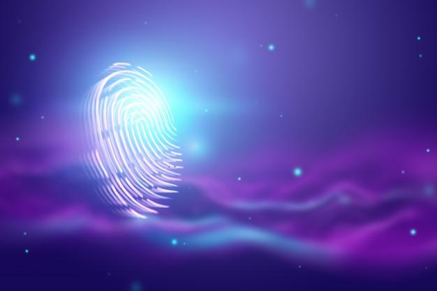 Huella digital holograma futurista, azul, ultravioleta.