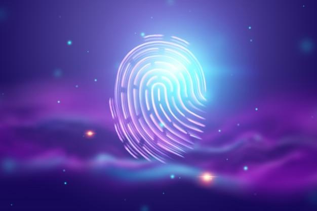 Huella digital de holograma futurista