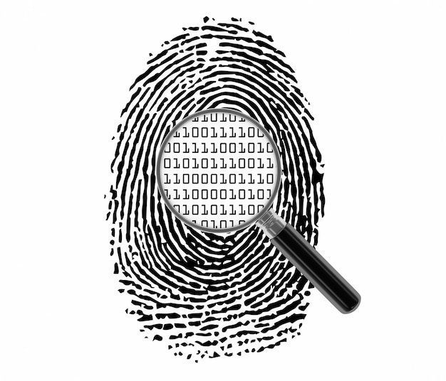 Huella digital con lupa y código binario