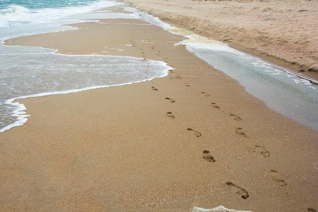 Huellas en la arena junto al mar.