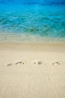 Huellas en la playa de arena junto al agua de mar