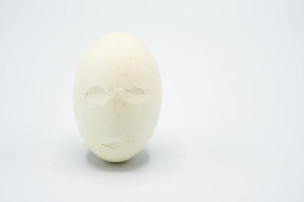 Huevo blanco agrietado sobre fondo blanco
