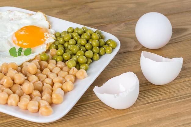 Huevo frito, garbanzos cocidos y guisantes en plato blanco. vista superior. cáscara de huevo.