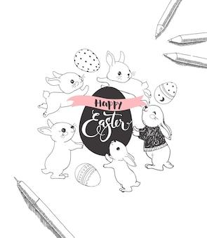 Huevo con inscripción manuscrita feliz pascua, rodeado de lindos conejitos, lápiz y lápices dibujados a mano con líneas de contorno. ilustración de vector monocromo para invitación de fiesta de celebración navideña.