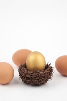 Huevo de oro sobre fondo blanco.