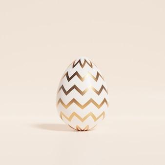 Huevo de pascua con chevron dorado o patrón en zigzag en la pared beige, tarjeta de vacaciones de primavera de abril, ilustración 3d render