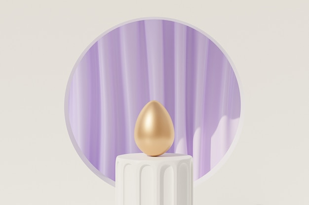 Huevo de pascua decorado con oro sobre podio blanco cerca de cortinas moradas con pliegues