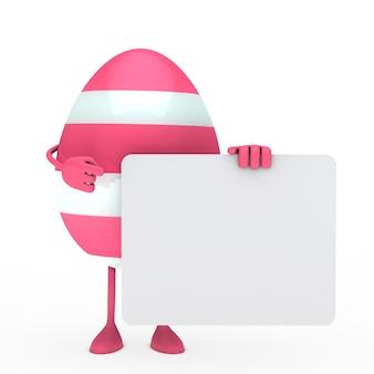Huevo rosa con un cartel
