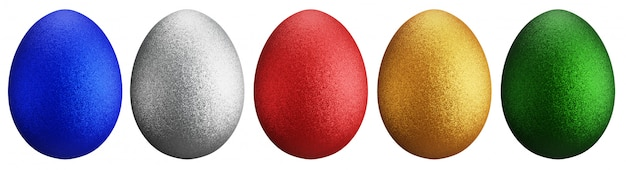 Huevos brillantes para el día de pascua. alineado con diferentes colores y patrones. rojo, verde, dorado, azul y plateado sobre superficie blanca. representación 3d. hay un camino de recortes.