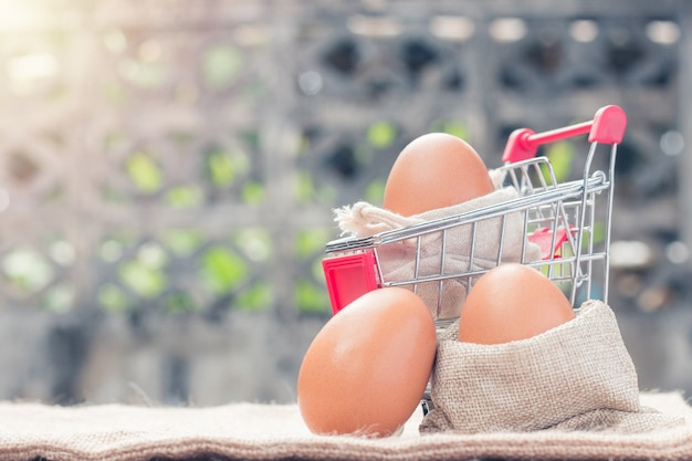 Huevos en carrito rojo y saco.