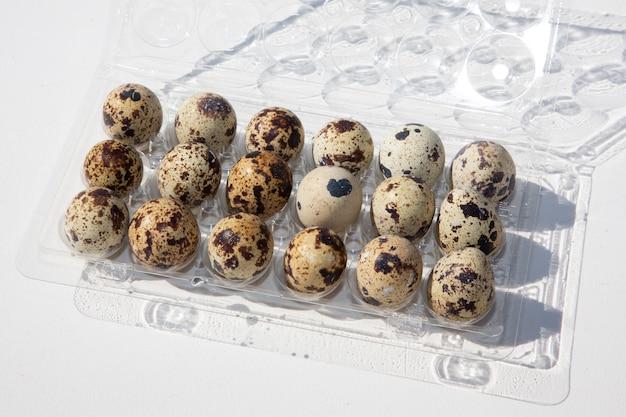 Huevos de codorniz en paquete abierto de plástico en fondo blanco.