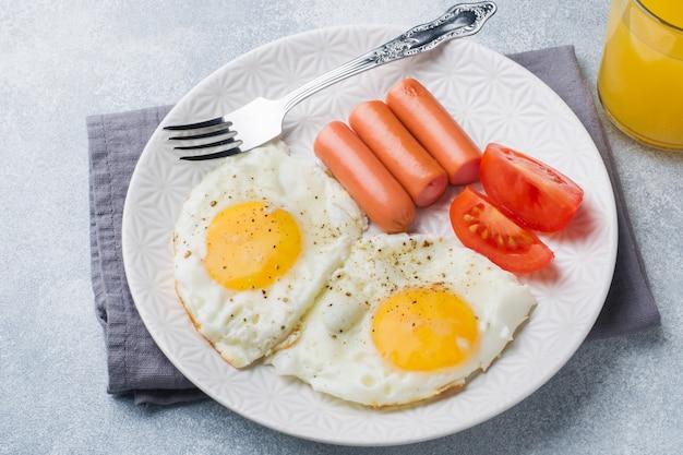 Huevos fritos y salchicha