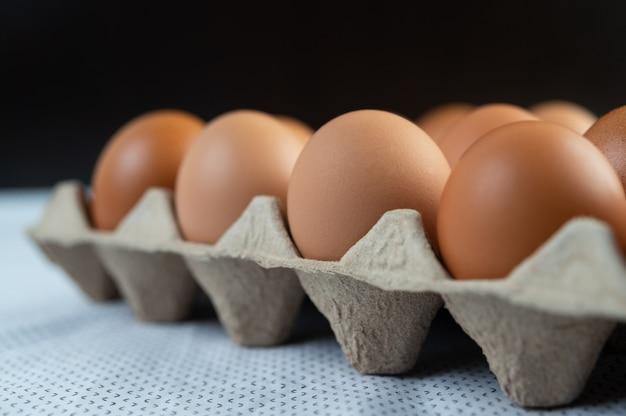 Huevos de gallina colocados en una bandeja de huevos. de cerca.