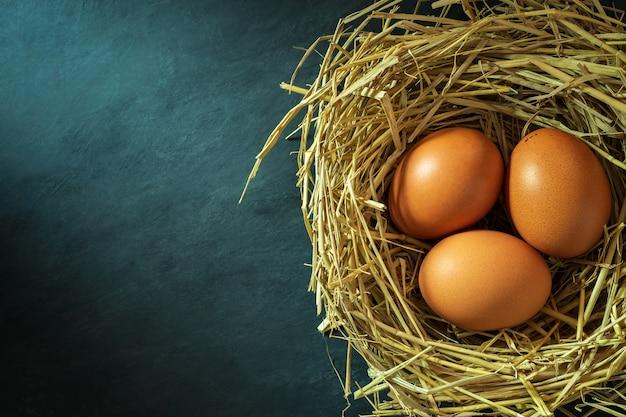 Los huevos en el nido hechos de paja de arroz y la luz del sol de la mañana.