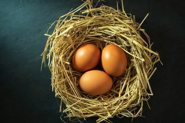 Huevos en el nido de paja de arroz y sol de mañana.