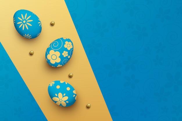 Huevos de pascua en colores de fondo. vista superior