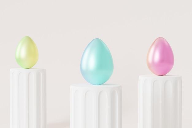 Huevos de pascua decorados con pintura degradada de colores en el podio blanco