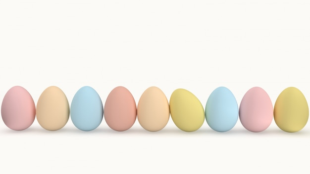 Huevos de pascua pintados en colores pastel sobre un fondo blanco.