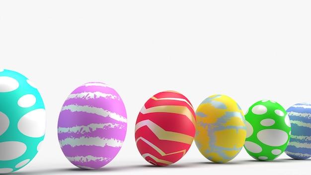 Huevos de pascua, representación 3d para contenido de vacaciones.