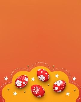 Huevos de pascua sobre fondo amarillo y naranja, vista superior