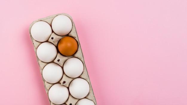 Huevos de pollo en estante en mesa rosa