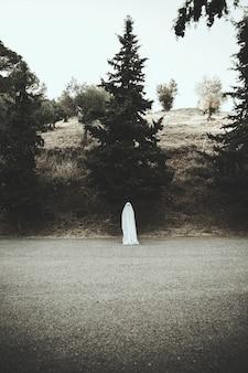 Humano en traje fantasma parado en la carretera