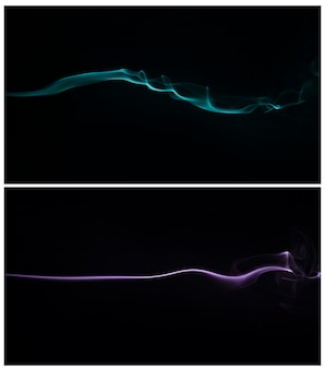 Humo azul y púrpura que remolina contra un fondo negro